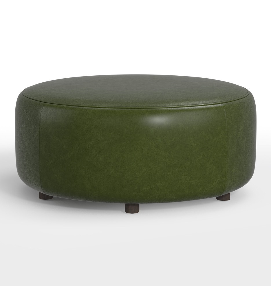 Incredible 36 Worley Round Leather Ottoman Gmtry Best Dining Table And Chair Ideas Images Gmtryco