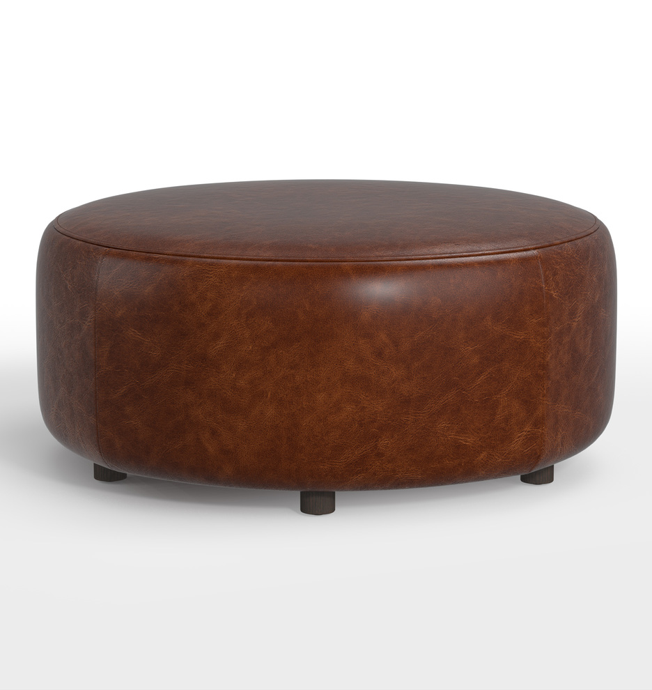 Admirable 36 Worley Round Leather Ottoman Gmtry Best Dining Table And Chair Ideas Images Gmtryco
