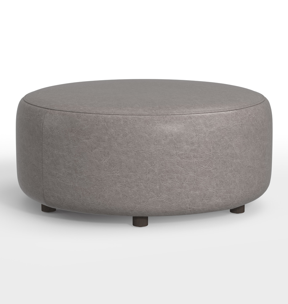 Fine 36 Worley Round Leather Ottoman Gmtry Best Dining Table And Chair Ideas Images Gmtryco