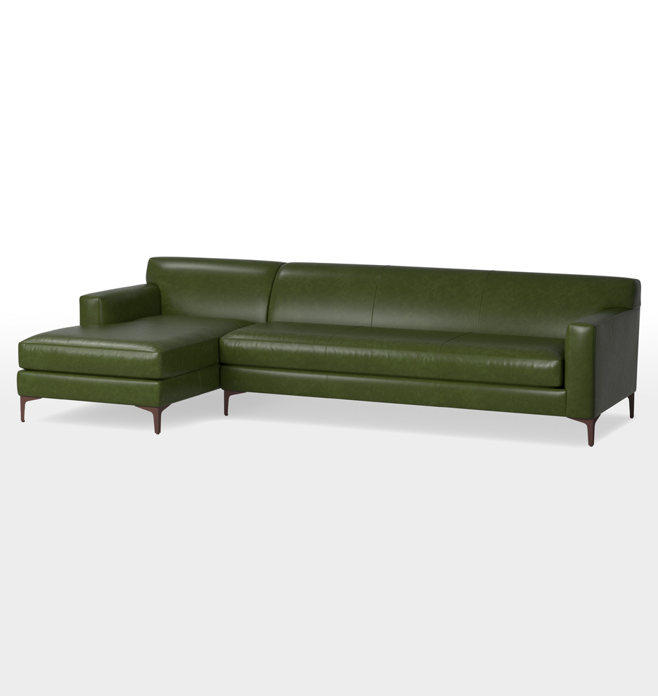 Hawthorne Chaise Sectional Leather Sofa