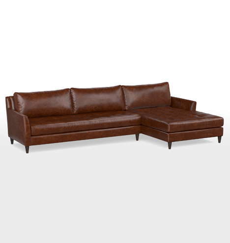 Hastings Sectional Leather Sofa Right Chaise Rejuvenation