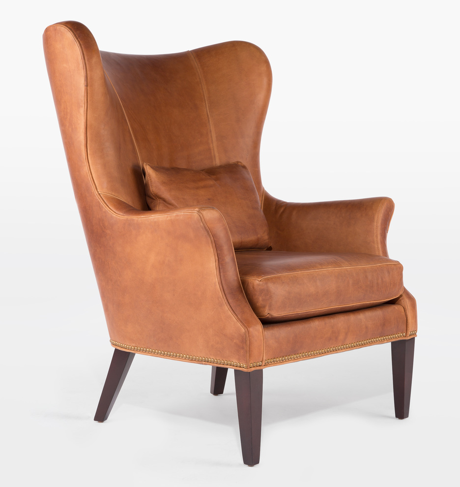Clinton Modern Wingback Leather Chair With Nailheads Rejuvenation