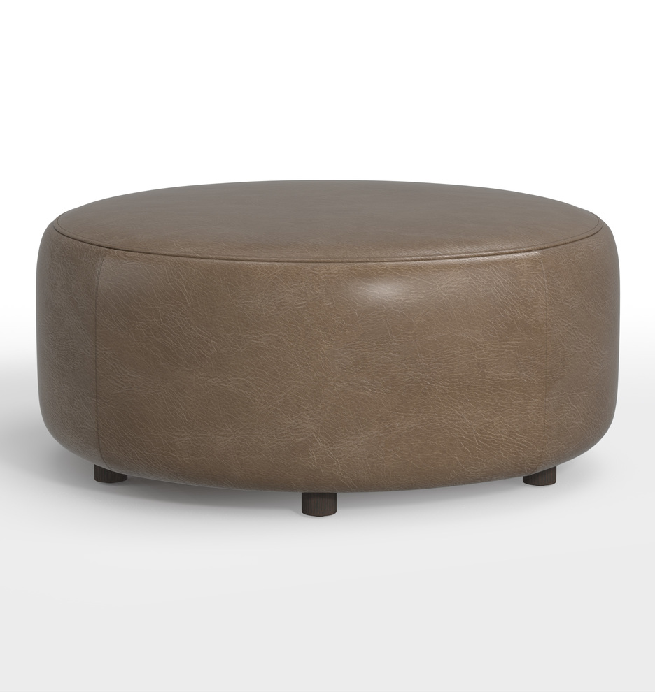 Surprising 36 Worley Round Leather Ottoman Ncnpc Chair Design For Home Ncnpcorg