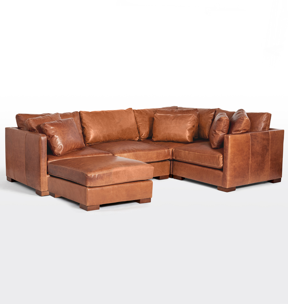 Wrenton 5-Piece Chaise Leather Sectional Sofa