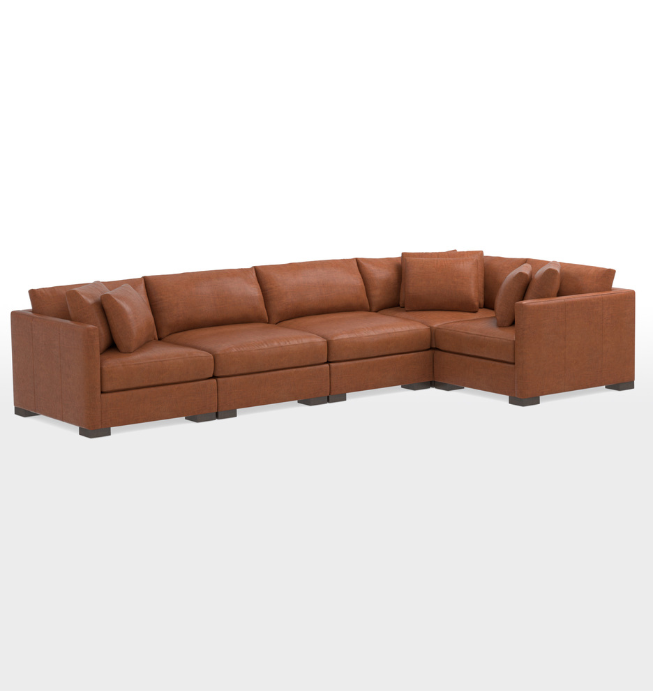 Wrenton 5-Piece Leather Sectional Sofa | Rejuvenation