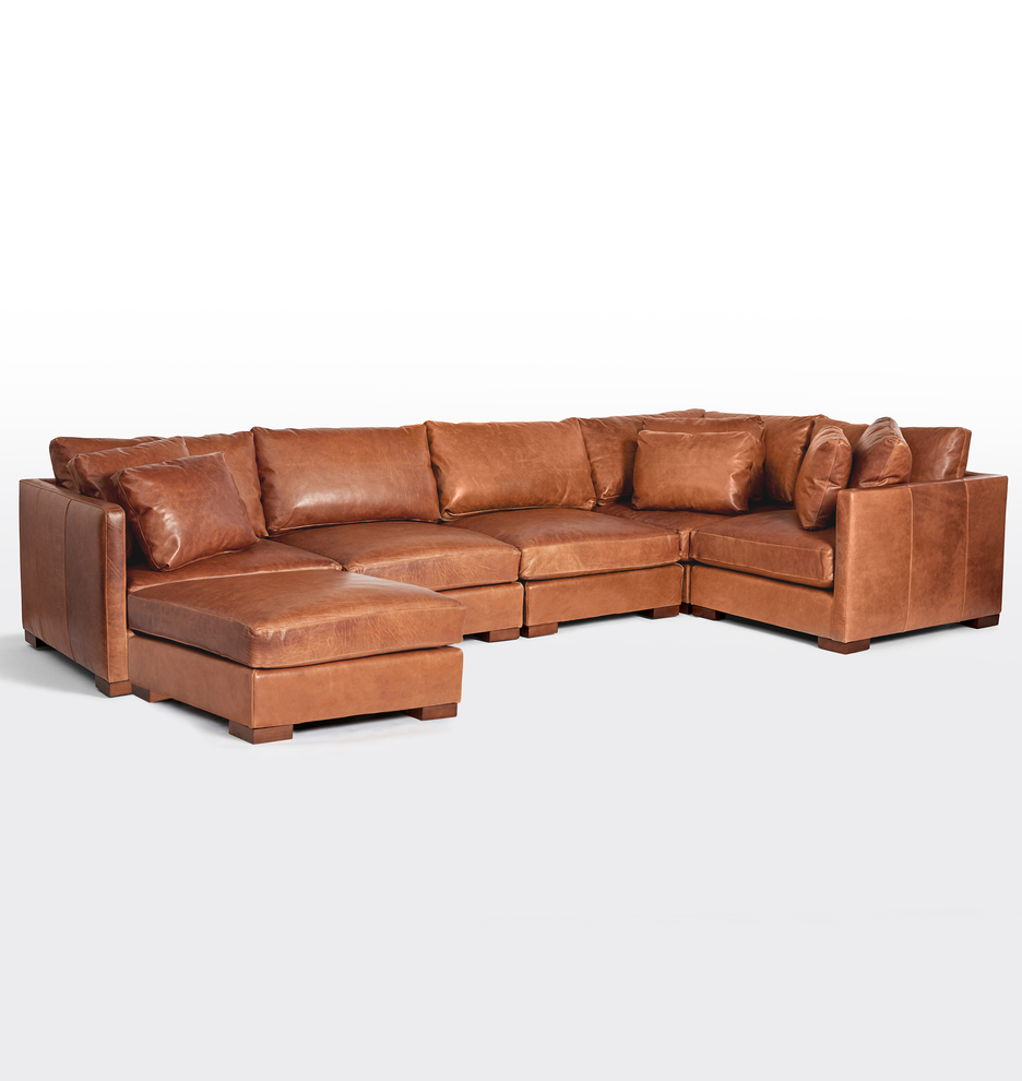 Wrenton 6-Piece Chaise Leather Sectional Sofa