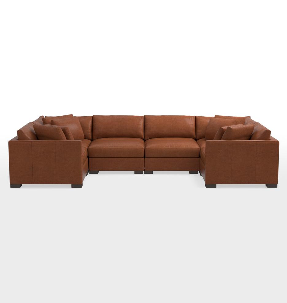 Wrenton 6 Piece U Shape Leather Sectional Sofa Rejuvenation