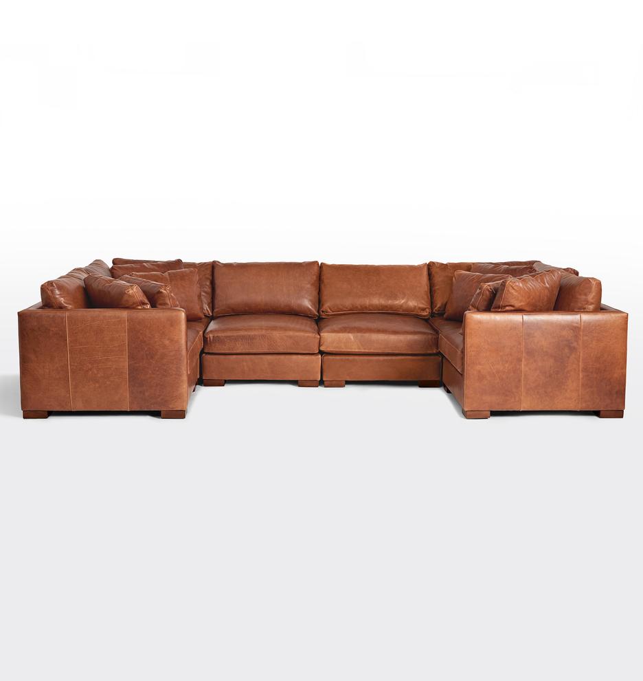 Wrenton 6-Piece U-Shape Leather Sectional Sofa