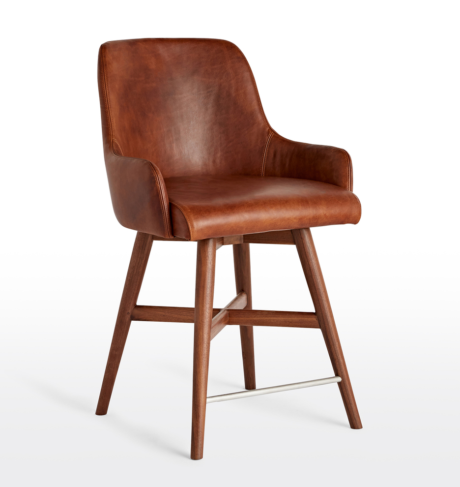 Swell Dexter Swivel Leather Counter Stool Short Links Chair Design For Home Short Linksinfo