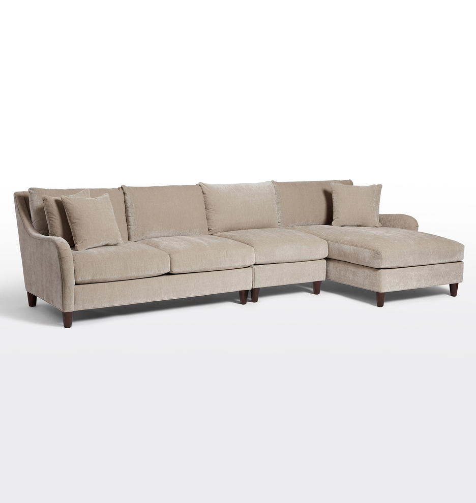 Vailer 3-Piece Chaise Sectional Sofa - Right Chaise