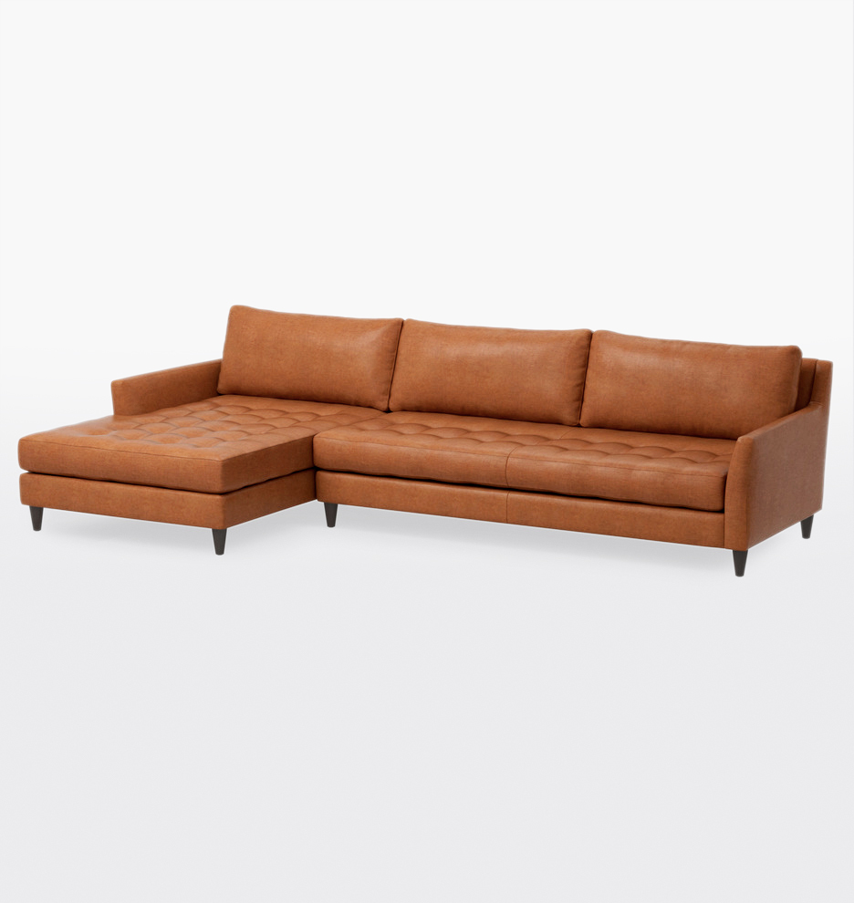 Hastings Deep Sectional Leather Sofa - Left Chaise