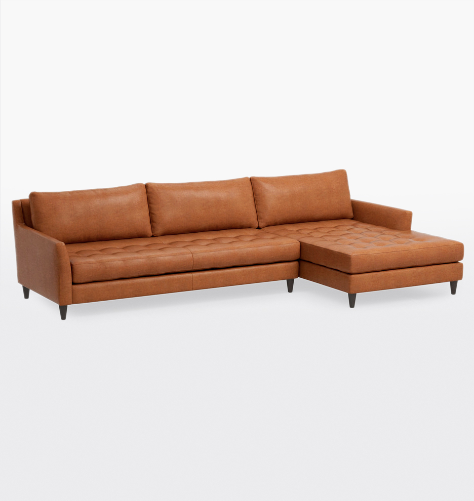 Hastings Deep Sectional Leather Sofa - Right Chaise