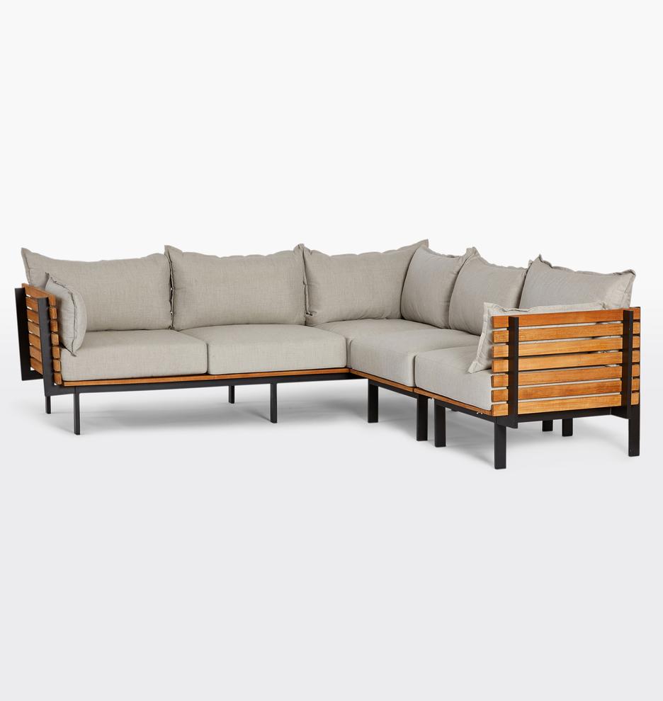 Jasper Teak 3-Piece Sectional Sofa