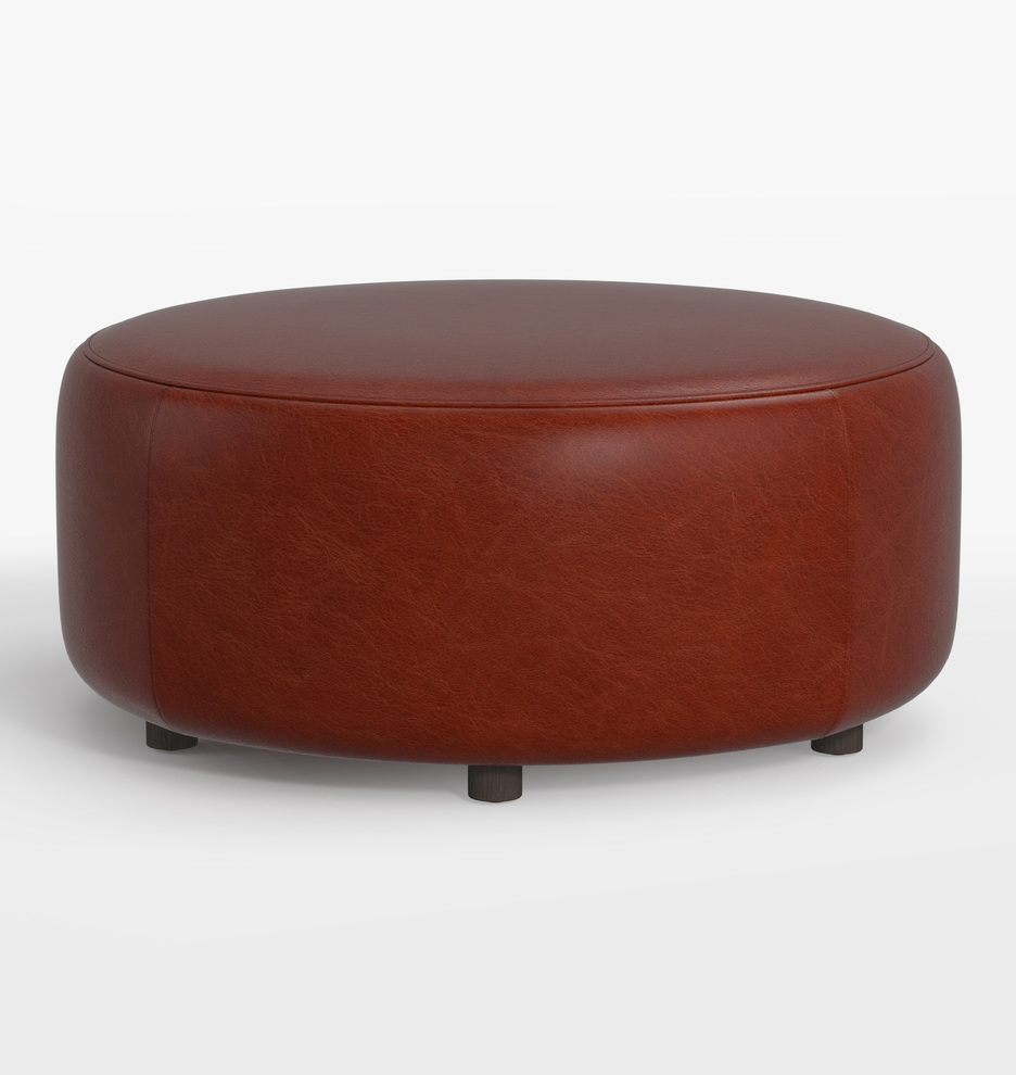 Fine 36 Worley Round Leather Ottoman Machost Co Dining Chair Design Ideas Machostcouk