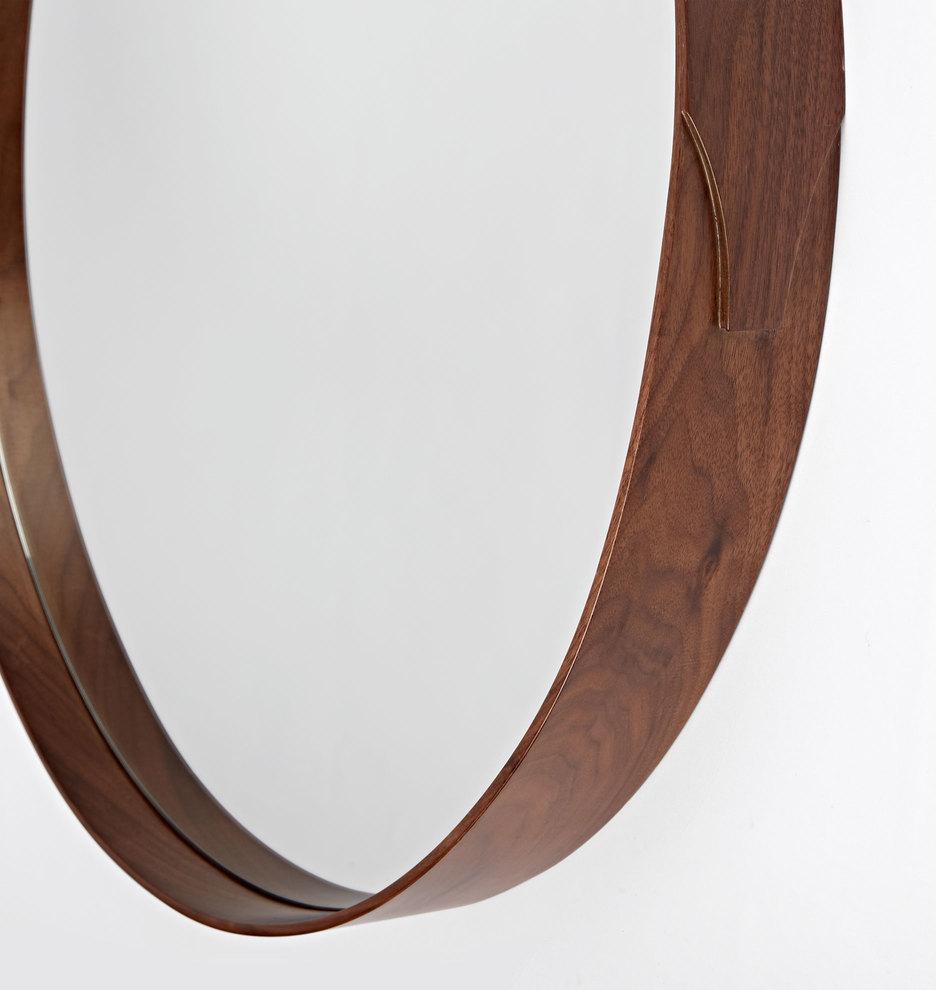 Bentwood Round Walnut Mirror   Rejuvenation