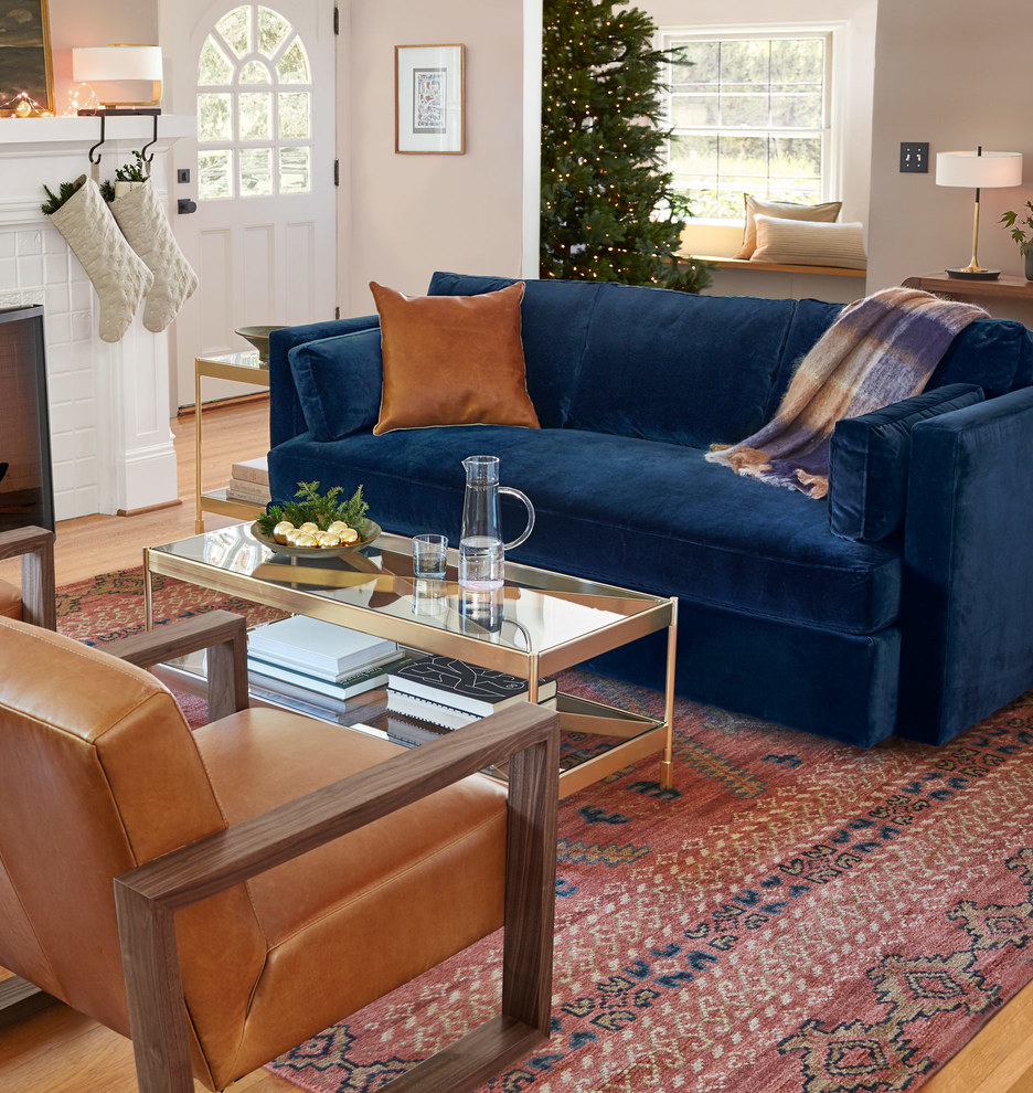 Rust Blue Living Room: Leather Pillow Cover