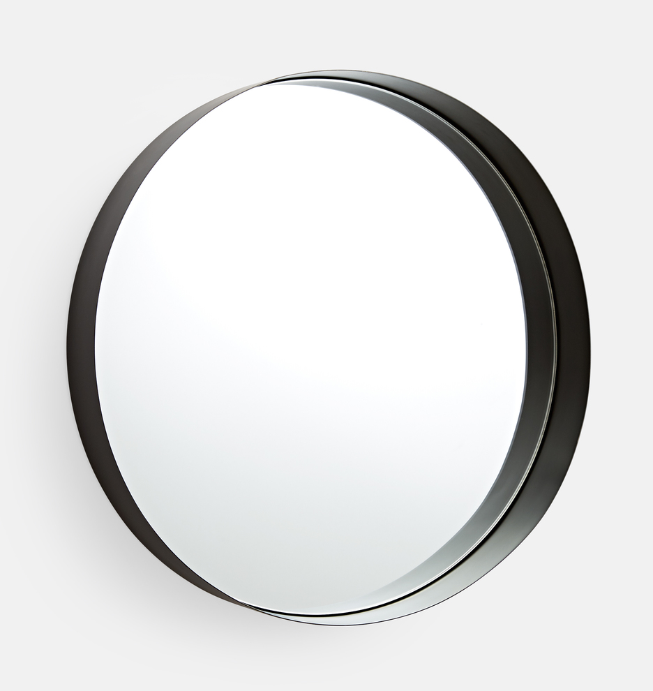 24 Deep Round Oil Rubbed Bronze Frame Mirror