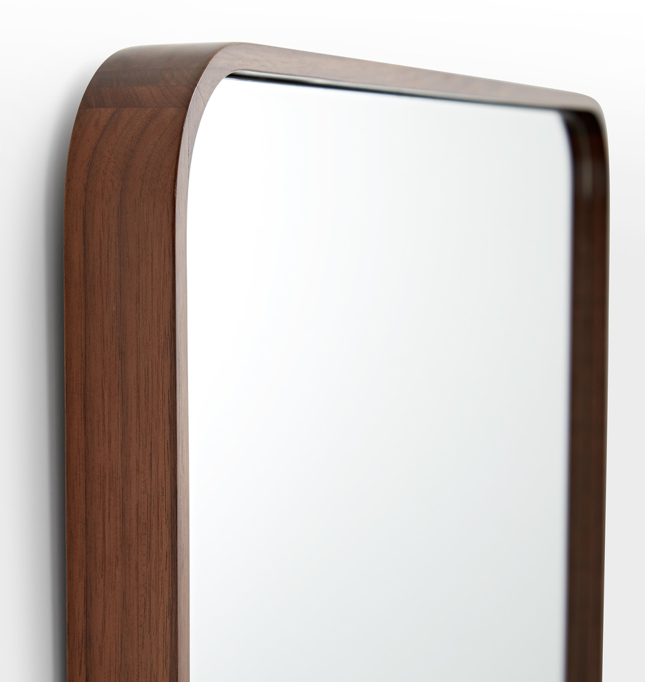 Solid Walnut Rounded Square Mirror Rejuvenation