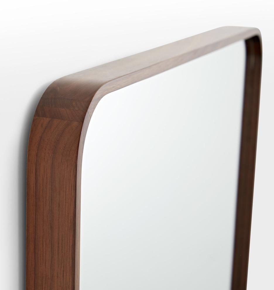 Solid Walnut Rounded Floor Mirror | Rejuvenation