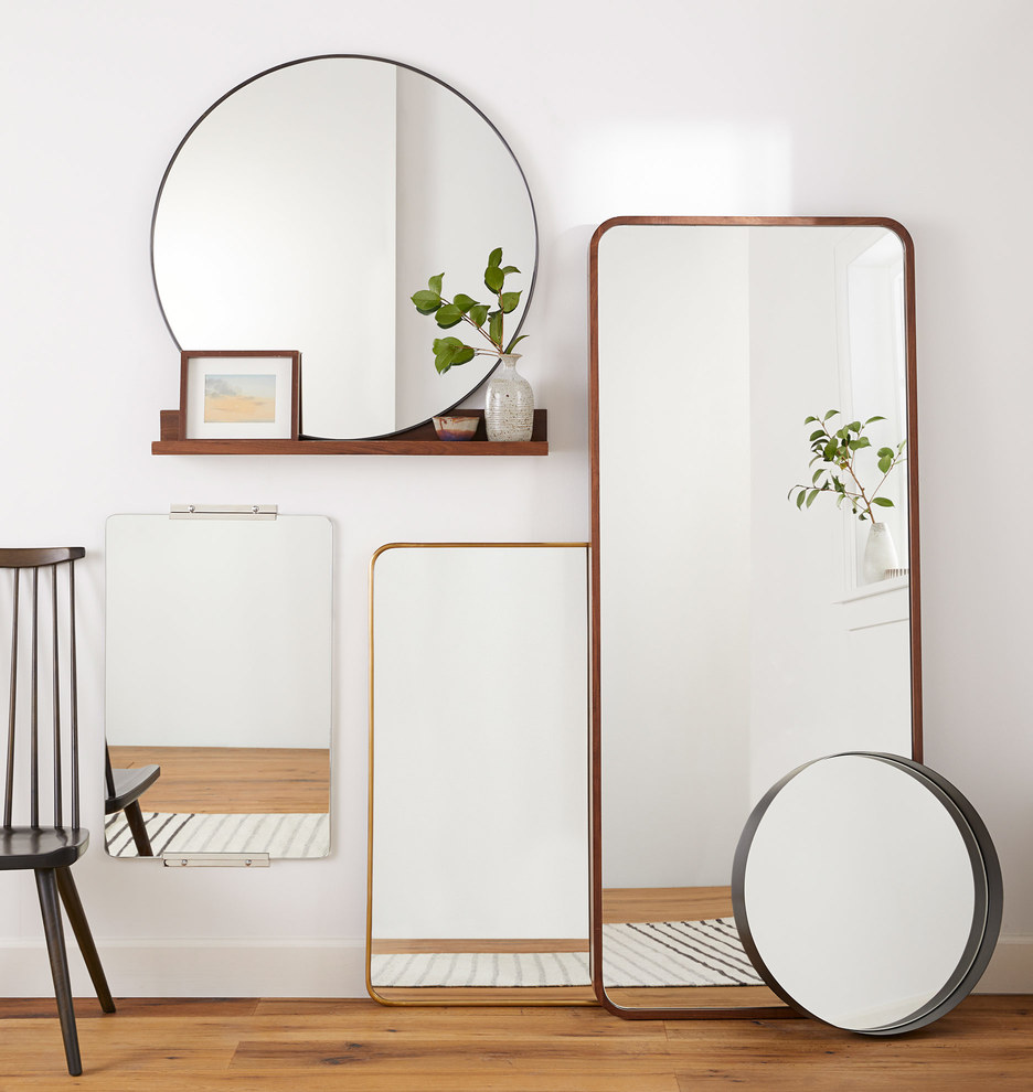 Solid Walnut Rounded Floor Mirror   Rejuvenation