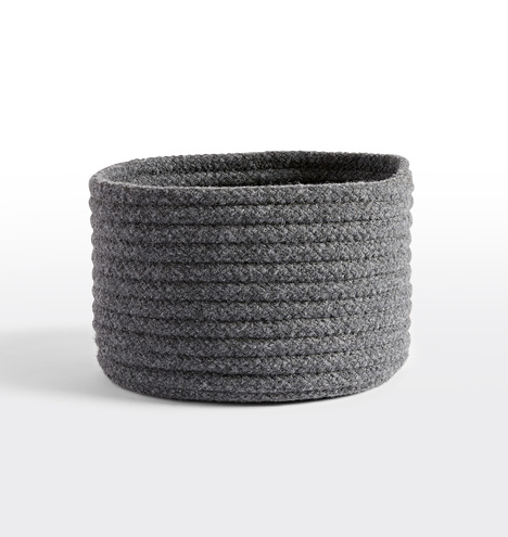 Medium Slate Gray Cablelock Wool Basket Rejuvenation