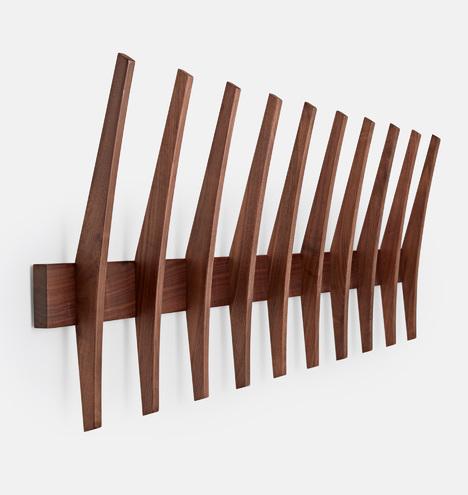 Brendon Farrell Fin Hook Rack Rejuvenation Interesting Traditional Dark Walnut Finish Wood Coat Rack
