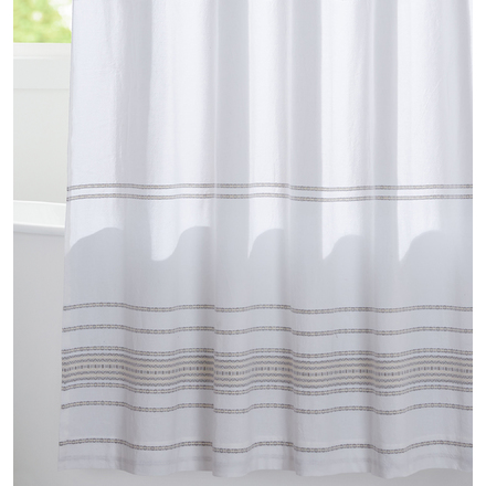Shower Curtains.Alpine White Pale Gray Woven Striped Shower Curtain