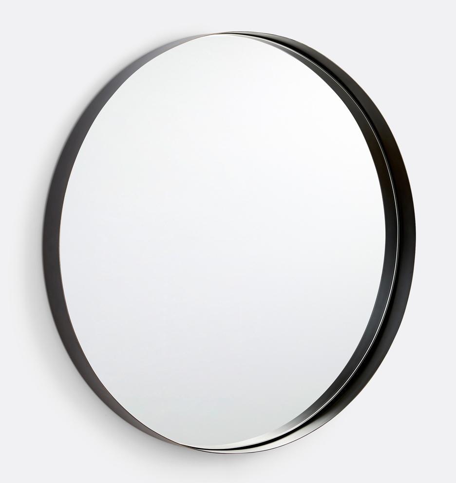 30 Deep Round Oil Rubbed Bronze Frame Mirror