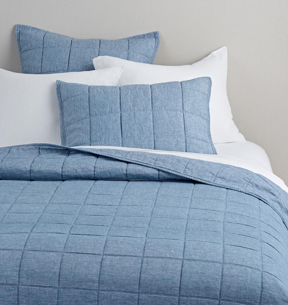 Washed Linen Quilt Shams Denim Rejuvenation