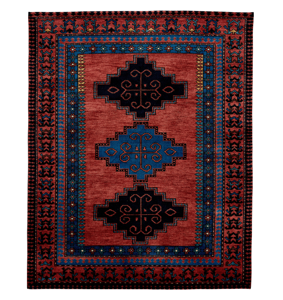 Ona Hand Knotted Rug Red Blue Rejuvenation