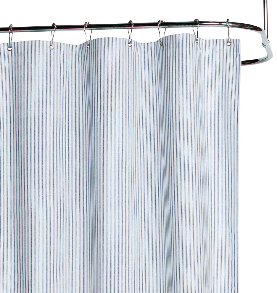 Blue Ticking Cotton Duck Cloth Shower Curtain | Rejuvenation