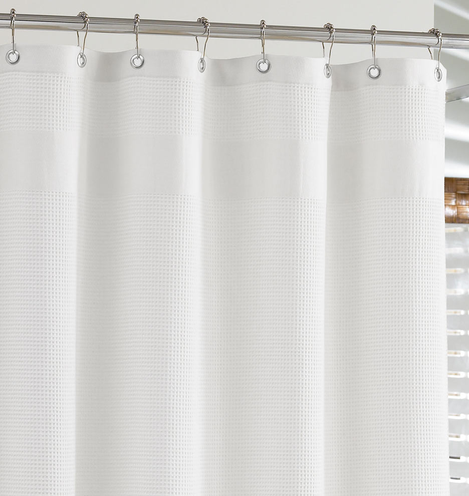 White WaffleWeave Shower Curtain Rejuvenation
