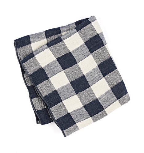 Navy Vintage Check Towels Rejuvenation