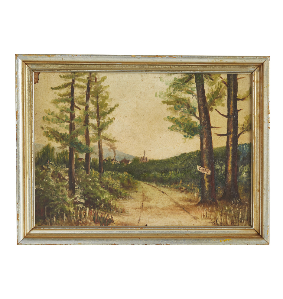 Original Oil Painting of Country Road w/ Painted Frame | Rejuvenation