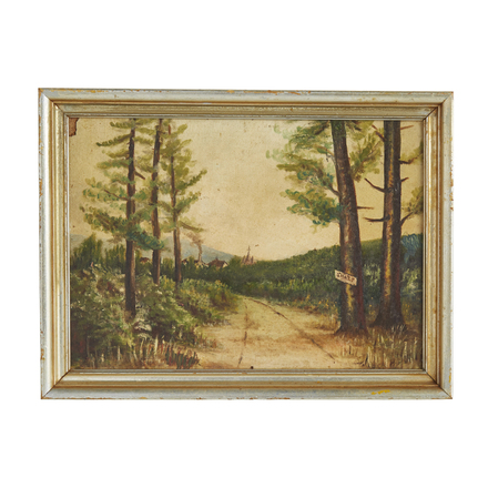 5e232cbf7542 Original Oil Painting of Country Road w  Painted Frame