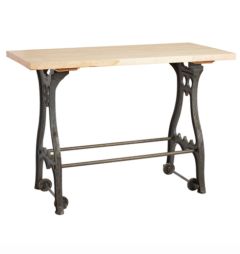 Astounding Industrial Console Table W Cast Iron Base On Casters Pabps2019 Chair Design Images Pabps2019Com
