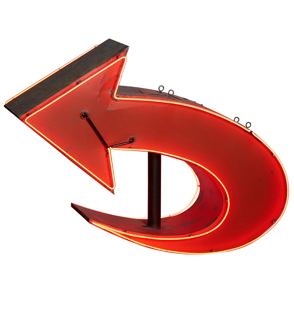 Enormous Double Sided Red Neon Arrow Sign Rejuvenation