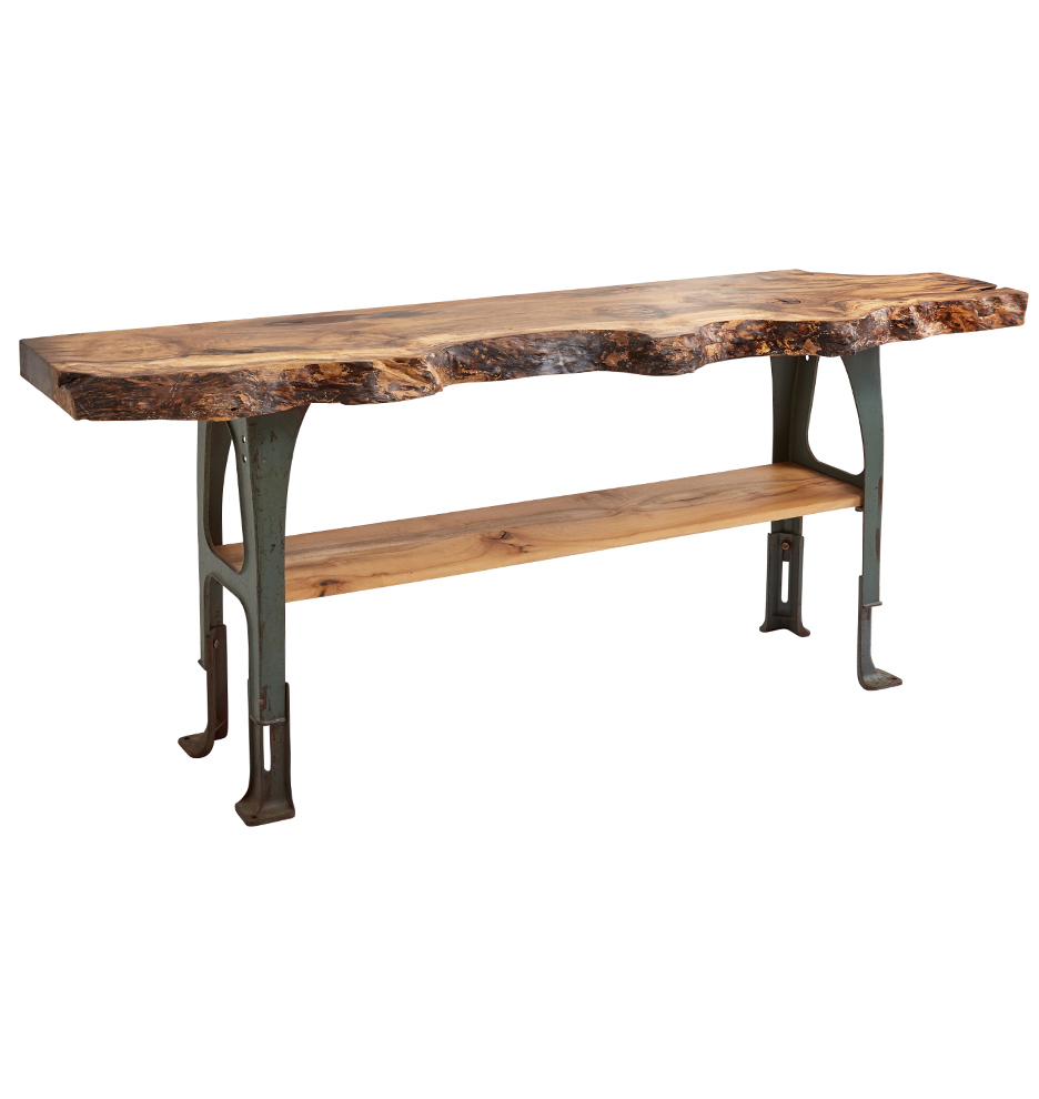 Remarkable Live Edge Myrtle Wood Industrial Console Table W Adjustable Iron Base Bralicious Painted Fabric Chair Ideas Braliciousco