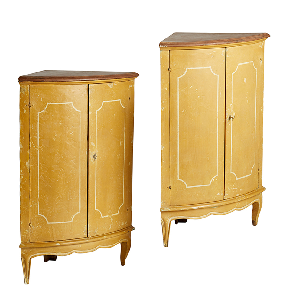 Pair Of Italian Corner Cabinets In Original Paint Rejuvenation