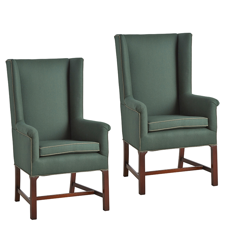 F1683 wk3 c1 180216 4 f1683  sc 1 st  Rejuvenation & Pair of Petite Wingback Chairs in Billiard Green Wool Upholstery ...