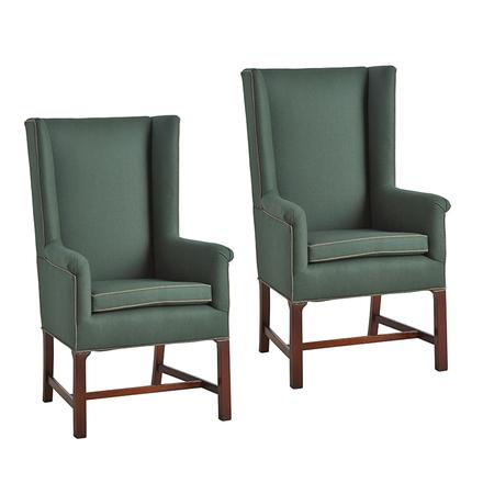 Antiques U0026 Vintage. Pair Of Petite Wingback Chairs In Billiard Green Wool  Upholstery