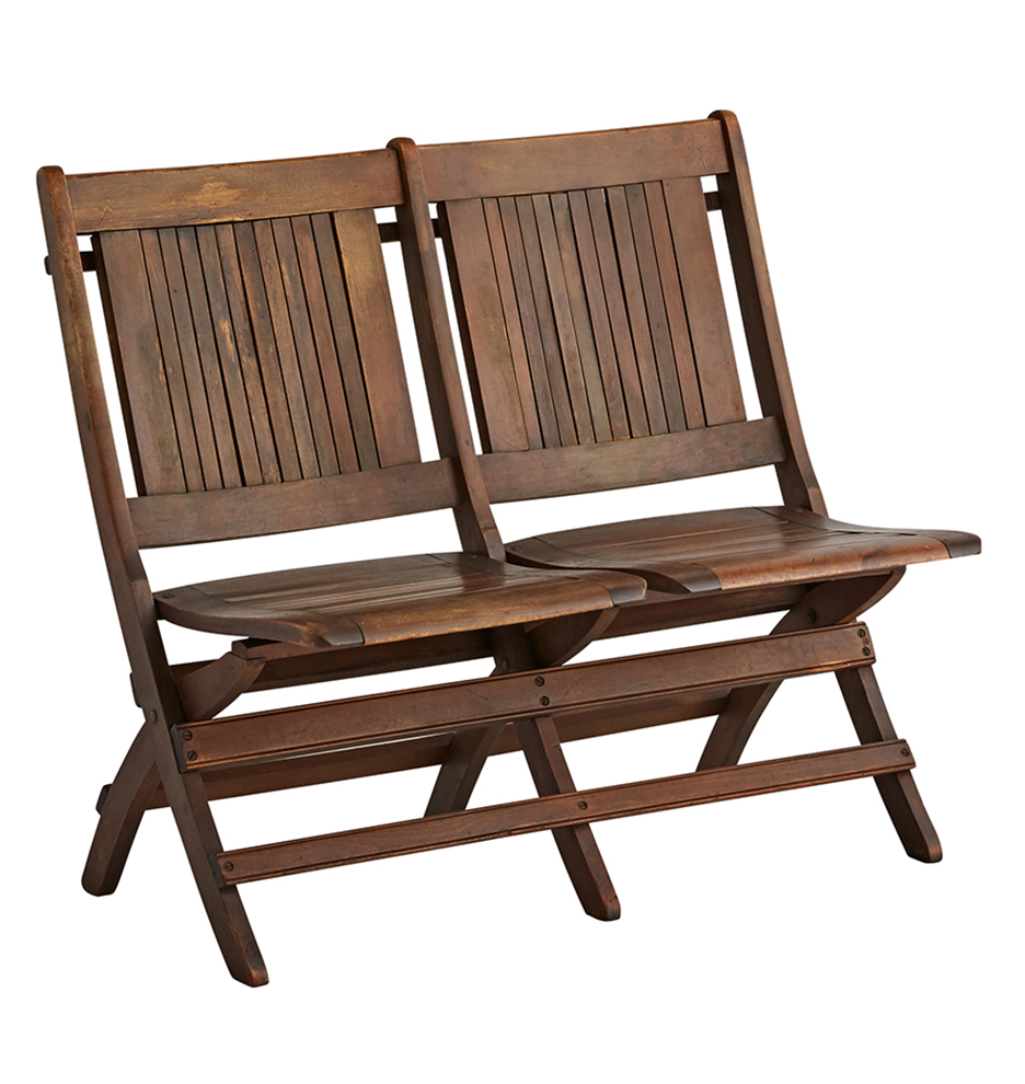 Slatted Tandem Folding Chairs w/ Dark Finish | Rejuvenation