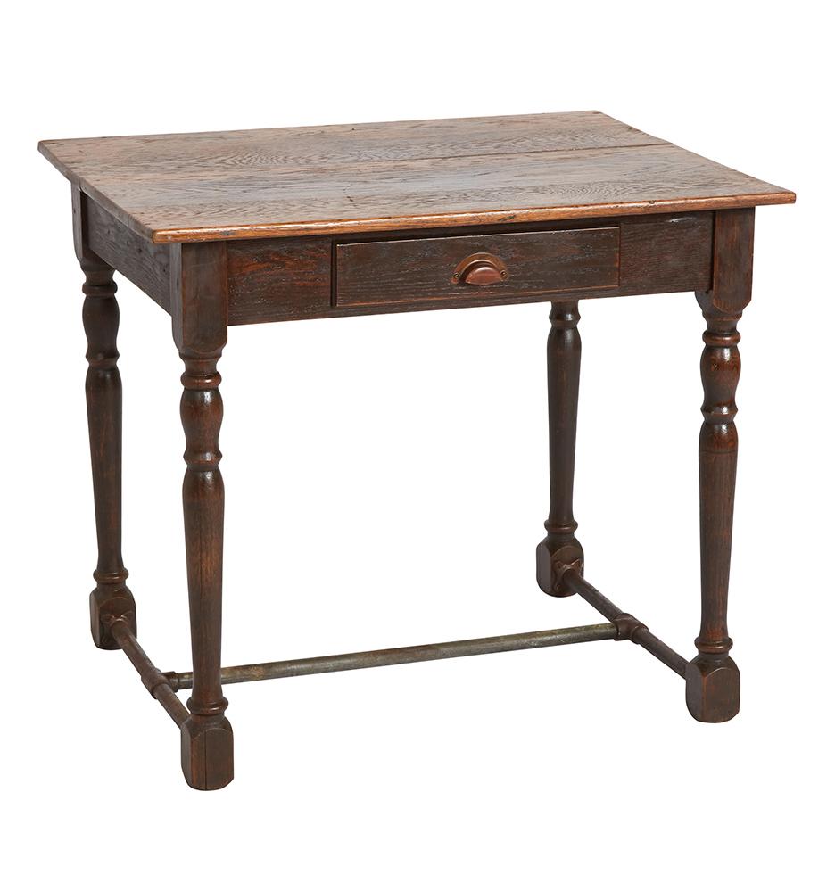 Small Solid Oak Desk w/ Iron Stretchers