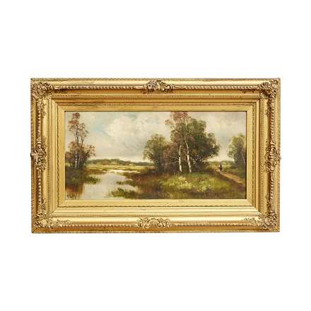 ad2ba6983f59 Romantic Landscape Painting in Original Gilt Frame