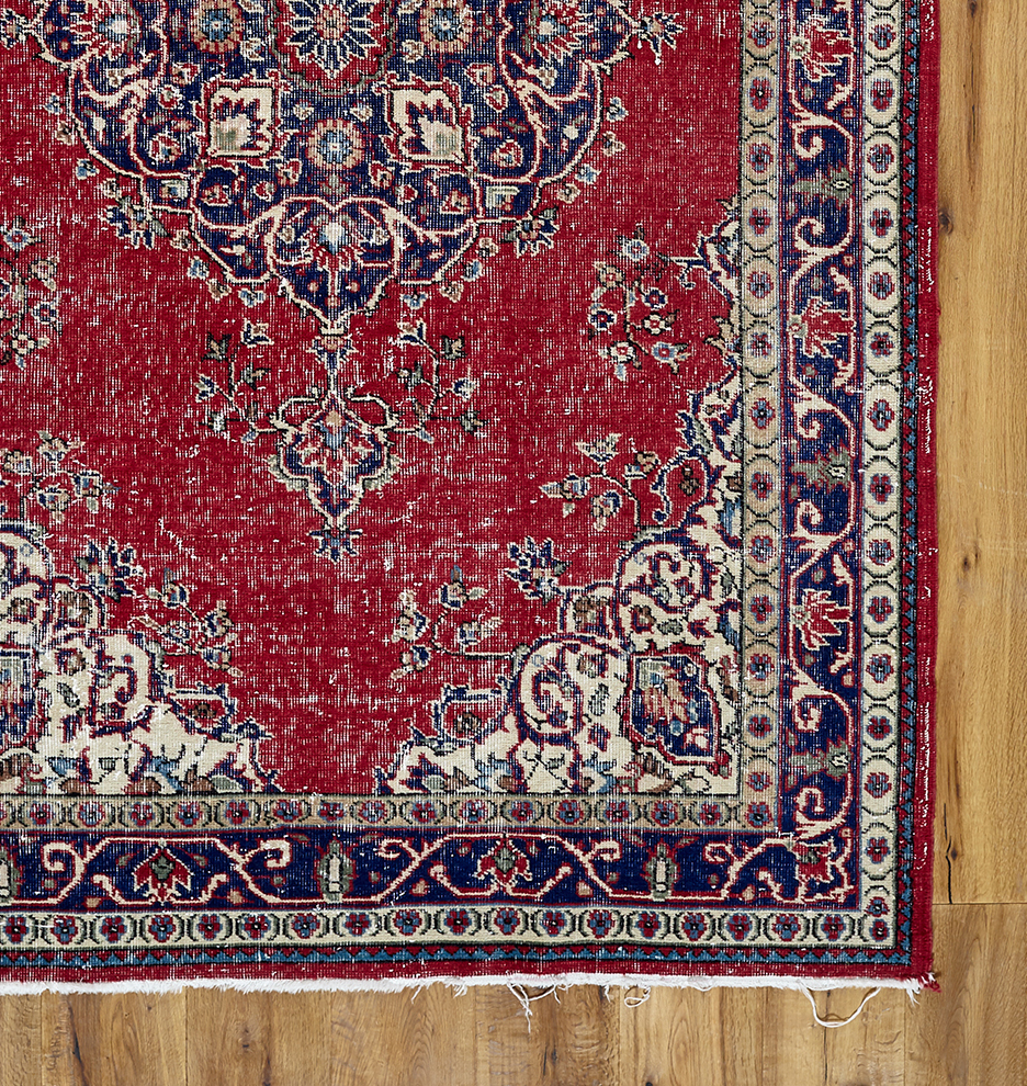 Large HandKnotted Turkish Rug in Faded Red Blue Rejuvenation
