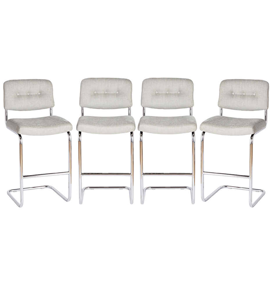 Terrific Set Of Four Modern Chrome Cantilever Bar Stools Pdpeps Interior Chair Design Pdpepsorg