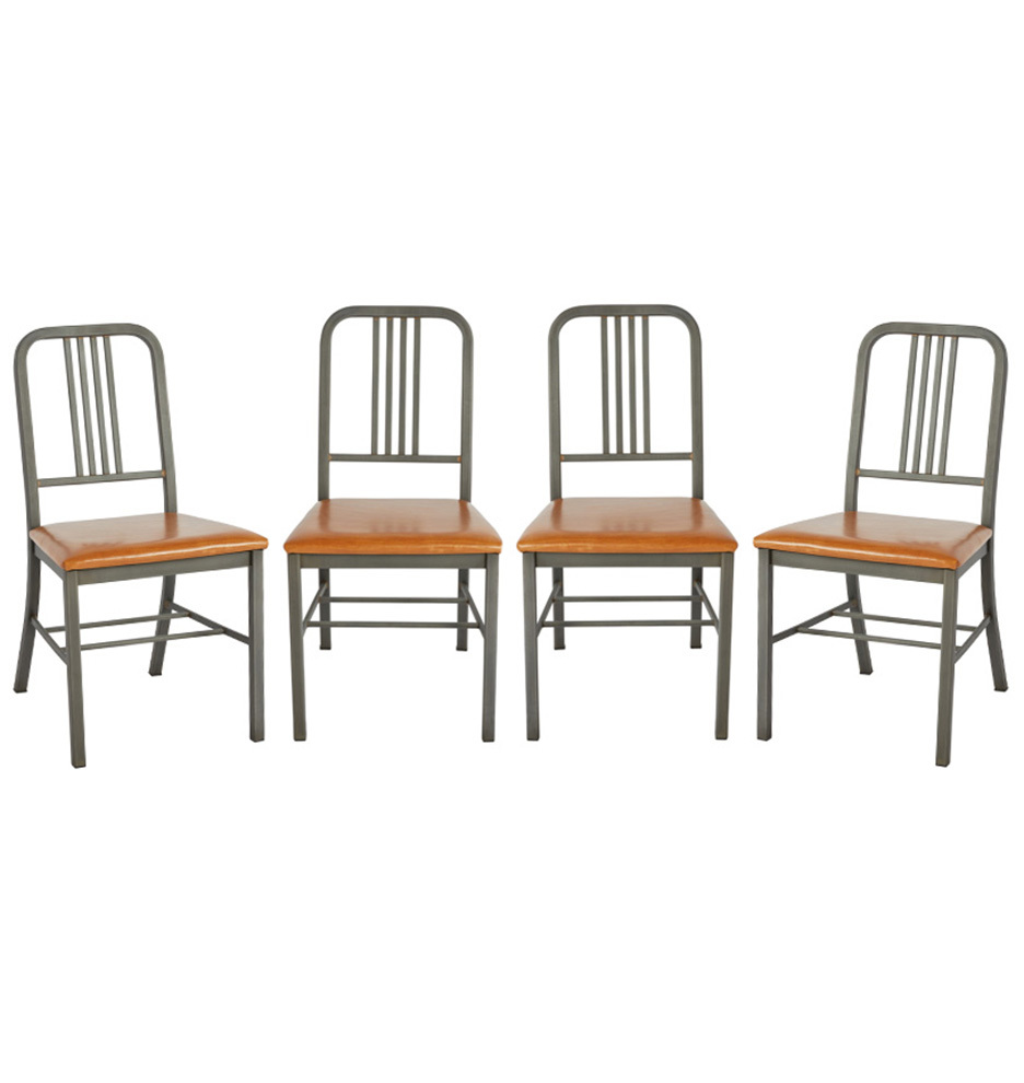 online store 4ce5a 2703d Set of 4 Simmons Steel Dining Chairs w/ New Leather Seats