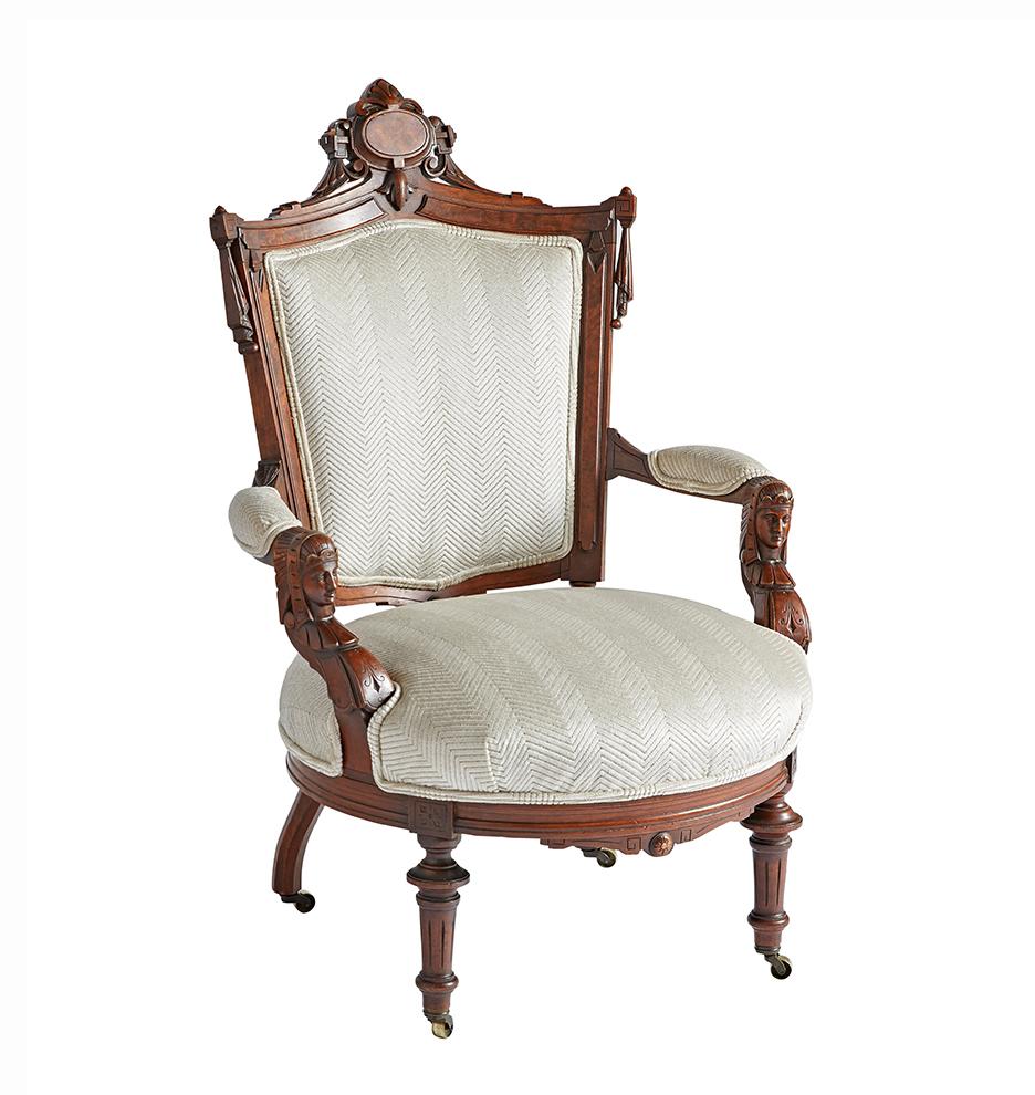 Enjoyable Carved Egyptian Revival Arm Chair On Casters Short Links Chair Design For Home Short Linksinfo