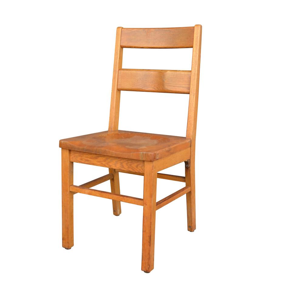 Beau Solid Oak Library Chair By Milton Bradley