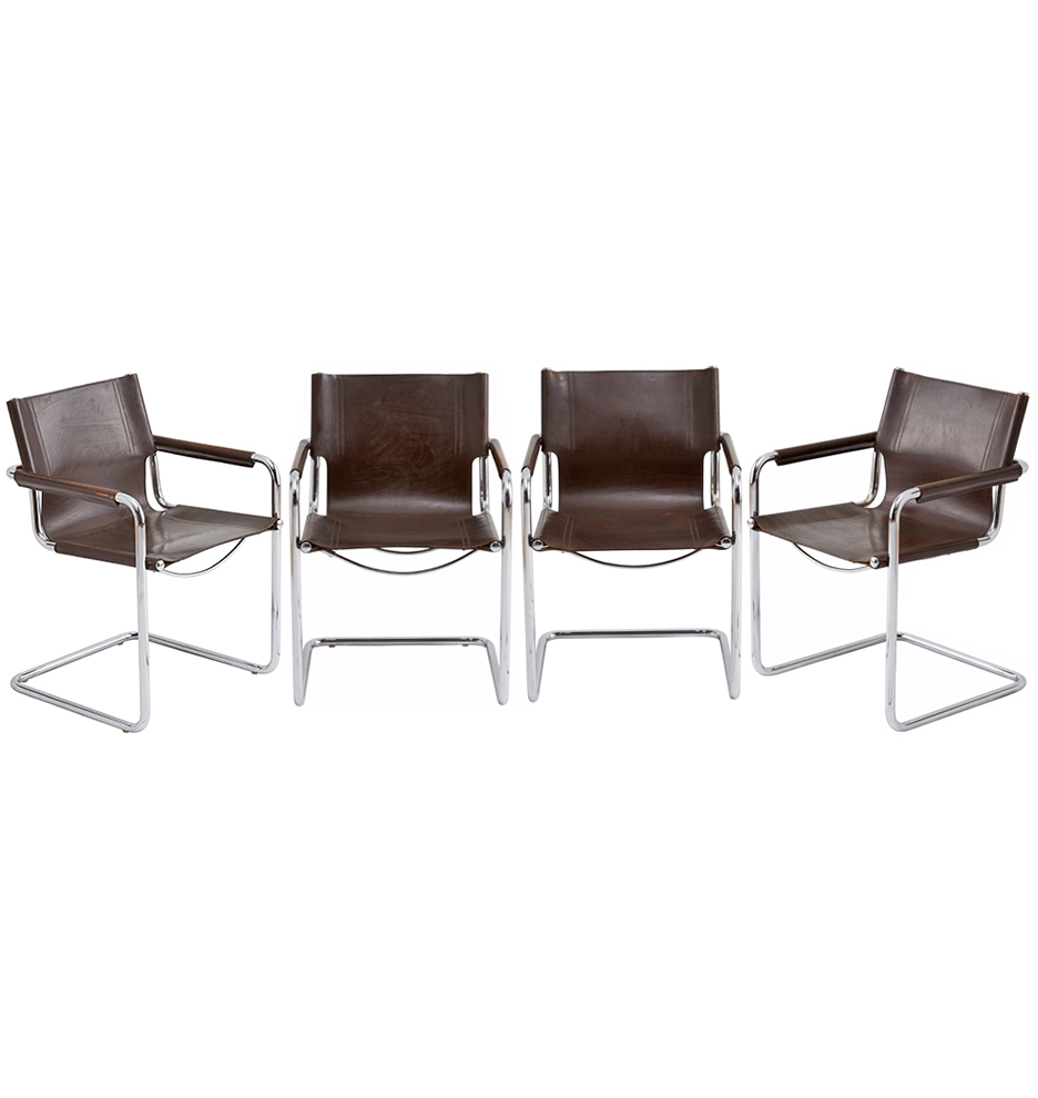 Marvelous Chrome Leather Cantilevered Mg5 Chairs By Matteo Grassi Download Free Architecture Designs Rallybritishbridgeorg